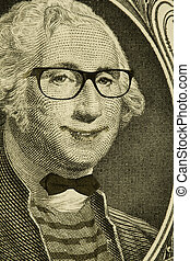 Hipster Nerd George Washington - Happy hipster nerd George...
