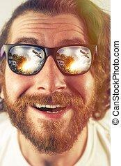 Bearded Man Vacation - Bearded man vacation sunglasses...