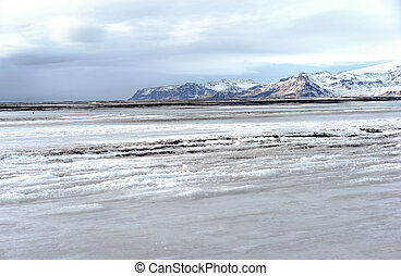 Ice Covered Beach - THe black sand beach of Vik Iceland...