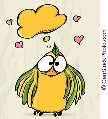 Poster with funny bird Vector illustration EPS8
