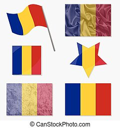 Set with Flags of Romania