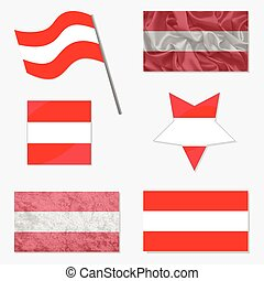 Set with Flags of Austria