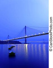 ponte, noturna, Hong, kong