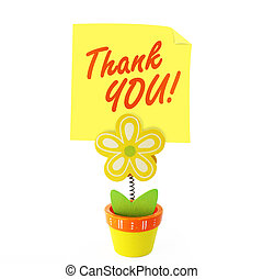 Saying thank you - Wood craft color flower note holder with...