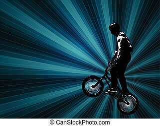 bmx cyclist background - bmx stunt cyclist on the abstract...