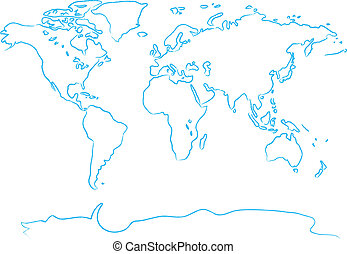 Drawing map a brush - Drawing the world map a blue brush