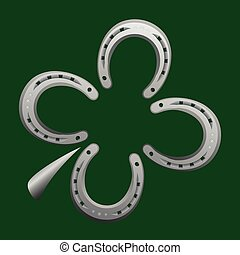 Horseshoe Clover Leaf Good Luck - Horseshoes forming a...