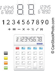 Calculator - Electronic calculator, digits, buttons and...