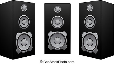 Black speaker white background - The black 3d speakers...
