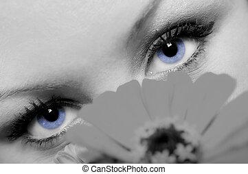 Um, conceito, foto, closeup, encantador, mulher, bonito,...