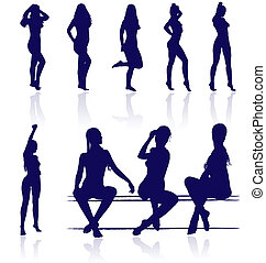 Vector silhouettes of sexy female posing with reflections.