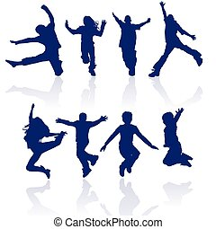 Boys and girls jumping vector silhouette with reflections