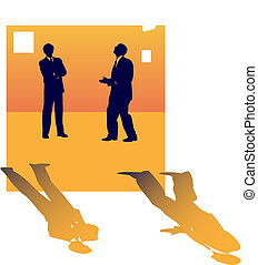 Two business silhouettes of people talking about job lose