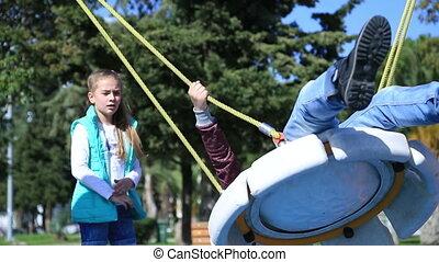 Children playing at the playground