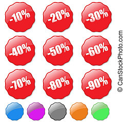 Collection of colored discount tags with percent numbers. Easy to edit, any text or color.