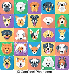 Seamless pattern with dogs flat design - Vector seamless...