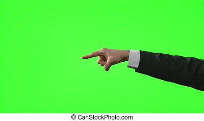 Young businessman making hand gestures in a virtual business...
