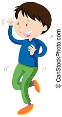 Little boy in blue dancing