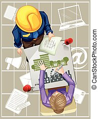 Two people working on designing buildings illustration