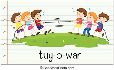 Children playing tug-o-war illustration