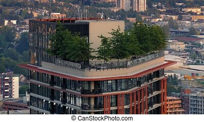 Apartment Building Trees On Top - Modern apartment highrise...