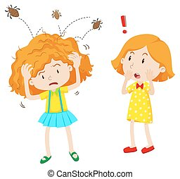 Girl with head lice jumping in her head illustration