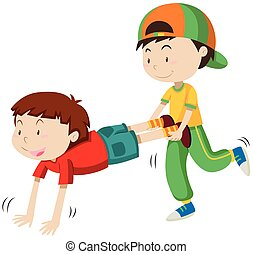 Two boys playing wheel barrow race illustration