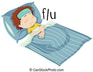 Boy in bed having flue illustration