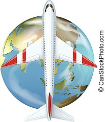 Airplane flying over the world
