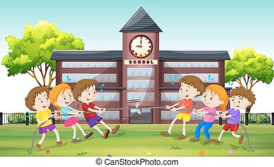 Children playing tug of war at school illustration