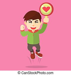 boy jumping with love sign