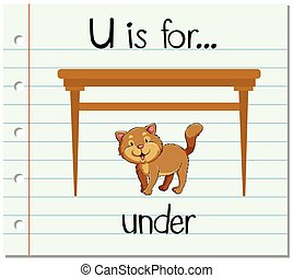 Flashcard letter U is for under illustration