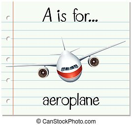 Flashcard letter A is for aeroplane illustration