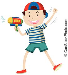 Boy with water gun illustration
