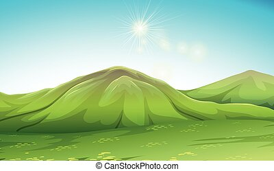 Nature scene with green mountain illustration