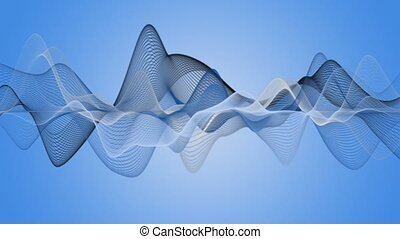 Fantastic video animation with wave object in motion,...