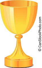 Gold goblet or cup vector icon