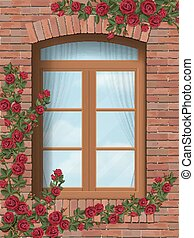 climbing rose arched window in brick wall