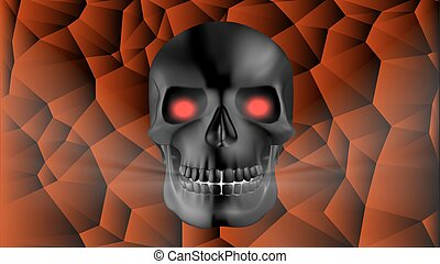 black human skull with red glowing eye sockets