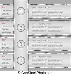 Torn paper infographics - Modern gray infographics template...