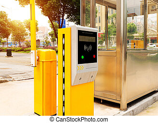 Underground parking entrance - Tollbooth in underground car...