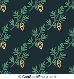 Pine branches pattern - Seamless pattern with pine tree...