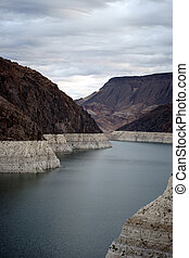Lake Mead - A view of the reservoir lake Mead at Hoover Dam...