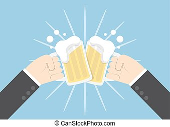 Two businessman hands toasting glasses of beer