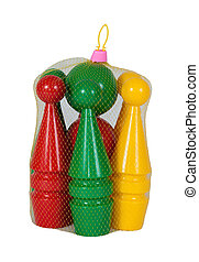Children colored plastic bowling