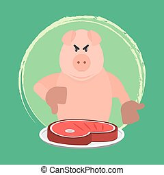 Angry pig and no pork - Angry pig disapproving pork...