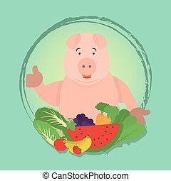 Vegan pig and vegetables - Happy pig presenting vegetables...