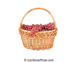 Red grape in a wattled basket, isolated on a white...