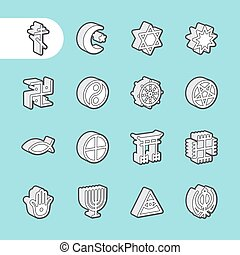 3D Fat Line Icons - 3D Fat Line Icon set for web and mobile....