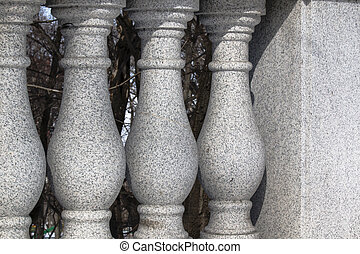 classical architectural baluster - bearing stone railing in...